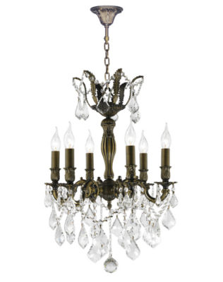 Versailles Collection 6 Light Antique Bronze Finish and Crystal Chandelier