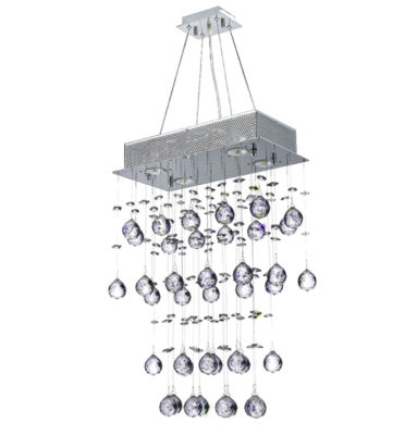 Icicle Collection 4 Light Chrome Finish and ClearCrystal Rectangle Chandelier