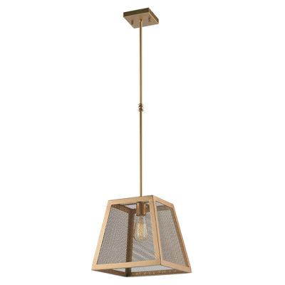 "Nautilus Collection 1 Light 12"" Mesh Trapezoid Shade Pendant Light"