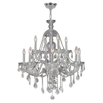 Provence Collection 12 2-Tier Light Chrome Finishand Clear Crystal Chandelier