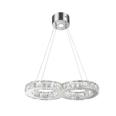 Galaxy 14 LED Light Chrome Finish and Clear Crystal Double Ring Dimmable Chandelier