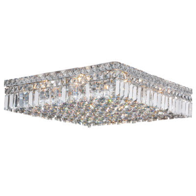"Cascade Collection 12 Light 5.5"" Square Chrome Finish and Clear Crystal Flush Mount Ceiling Light"""