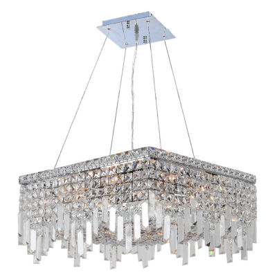 Cascade Collection 12 Light Chrome Finish and Clear Crystal Square Chandelier