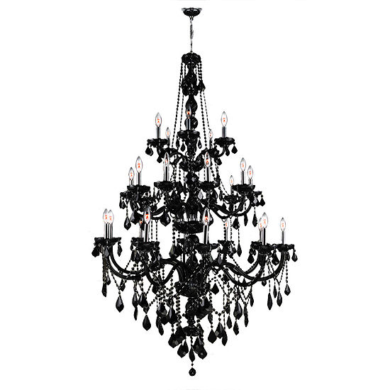 "Provence Collection 25 Light 3-Tier 68"" Chrome Finish and Crystal Chandelier"""