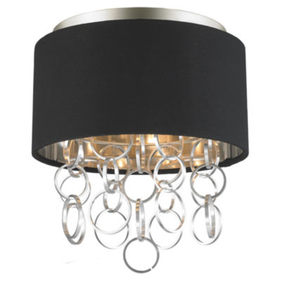 Catena Collection 3 Light Matte Finish with BlackLinen Drum Shade Flush Mount Ceiling Light