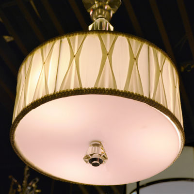Gatsby Collection 3 Light Chrome Finish and ClearCrystal Pendant with White Fabric Shade
