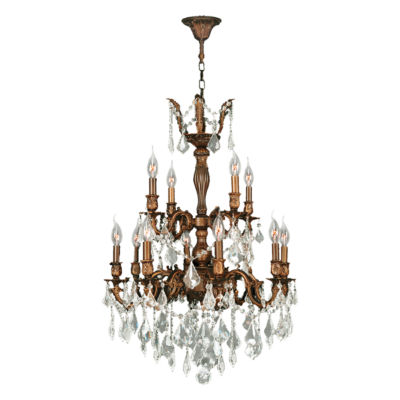 Versailles Collection 12 Light 2-Tier Clear Crystal Chandelier