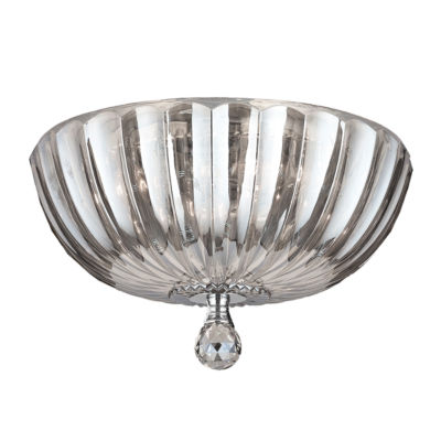 """Mansfield Collection 4 Light 14"""" Chrome Finish andCrystal Bowl Flush Mount Ceiling Light"""""""