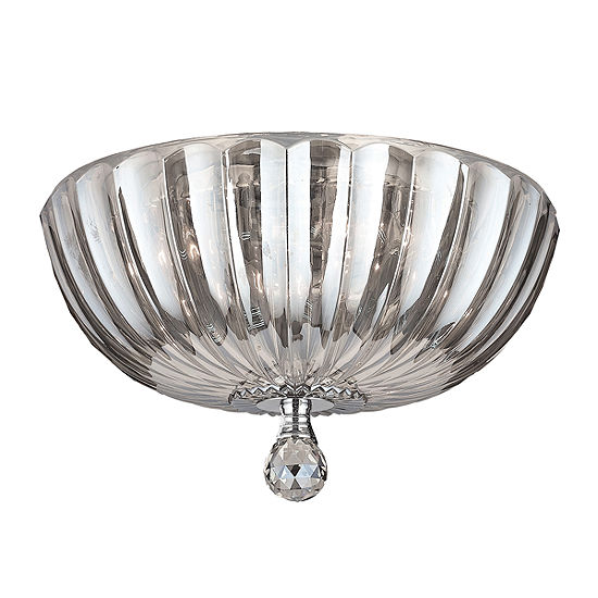 """Mansfield Collection 4 Light 14"""" Chrome Finish and Crystal Bowl Flush Mount Ceiling Light"""