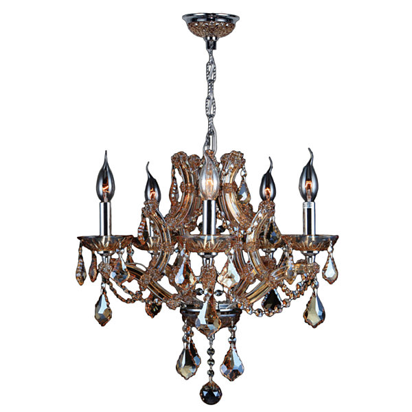 Lyre Collection 5 Light Chrome Finish and CrystalChandelier