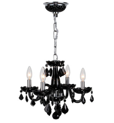 Clarion Collection 4 Light Mini Chrome Finish and Crystal Chandelier