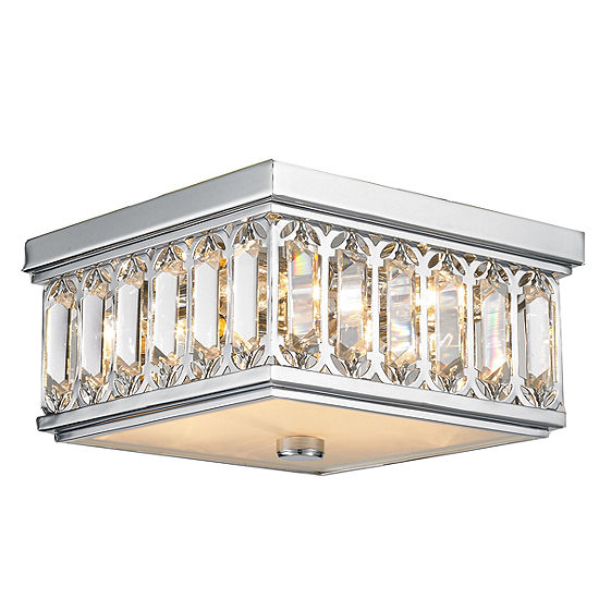 Athens Collection 4 Light Chrome Finish and Clear Crystal Flush Mount Ceiling Light