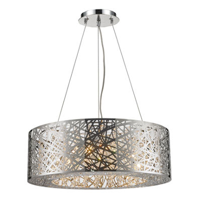 Aramis Collection 12 Light Chrome Finish and Clear Crystal Drum Chandelier