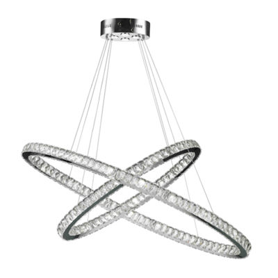 Galaxy 30 LED Light Chrome Finish and Clear Crystal Constellation Ring Dimmable Chandelier
