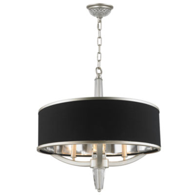 """Gatsby Collection 3 Light Matte Finish with BlackDrum Shade Chandelier 21"""" D x 22"""" H"""""""
