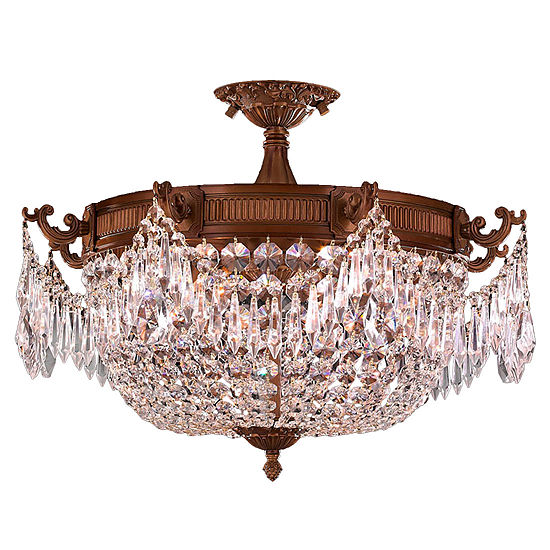 Winchester Collection 3 Light Clear Crystal Semi Flush Mount Ceiling Light