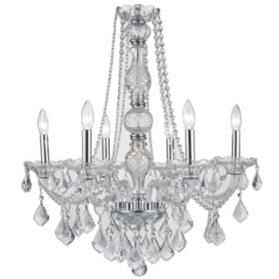 Provence Collection 6 Light Chrome Finish and Clear Crystal Chandelier