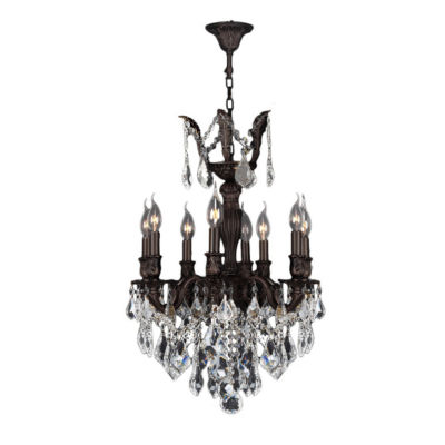 Versailles Collection 8 Light Flemish Brass Finishand Clear Crystal Chandelier