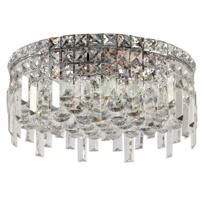 """Cascade Collection 5 Light 7.5"""" Round Chrome Finish and Clear Crystal Flush Mount Ceiling Light"""""""