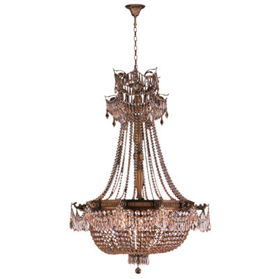 Winchester Collection 12 Light Antique Bronze Finish and Golden Teak Crystal Chandelier