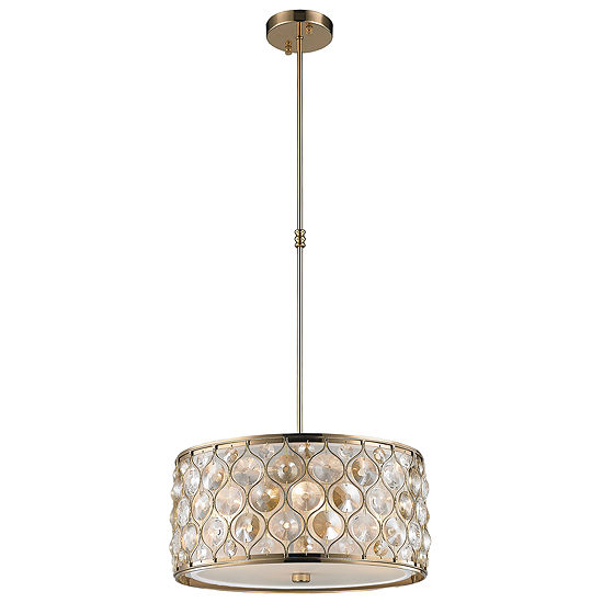 Paris Collection 4 Light with Clear and Golden Teak Crystal Pendant