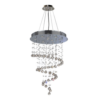 Helix Collection 10 Light Chrome Finish and ClearCrystal Spiral Chandelier