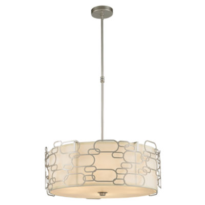 Montauk Collection 9 Light Matte Finish with IvoryLinen Shade Round Pendant
