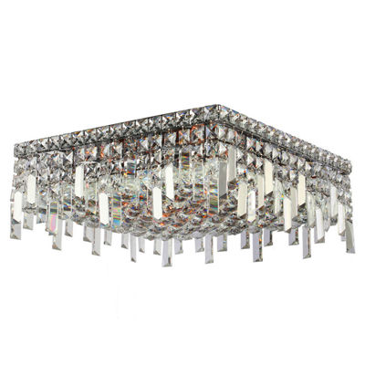 "Cascade Collection 6 Light 7.5"" Square Chrome Finish and Clear Crystal Flush Mount Ceiling Light"""