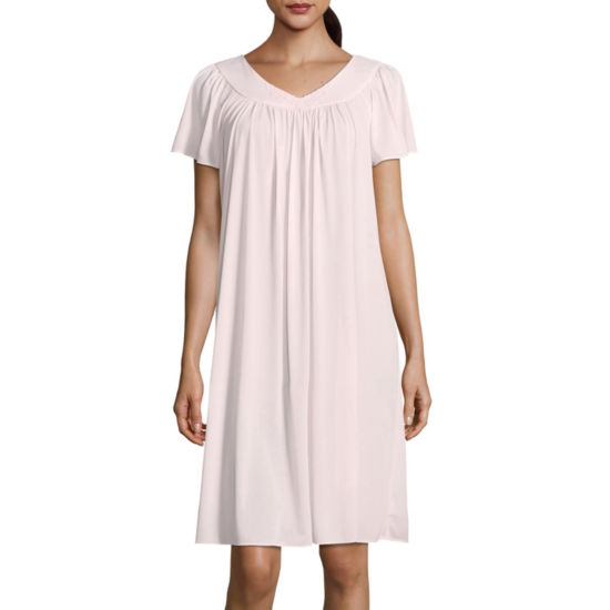 Collette By Miss Elaine Tricot Short Sleeve Nightgown