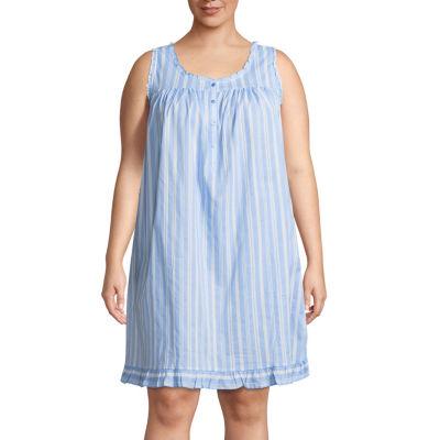 Adonna Woven Sleeveless Nightgown-Plus