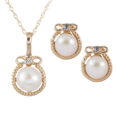Splendid Pearls Womens 2-pc. Diamond Accent Pearl 14K Gold Jewelry Set