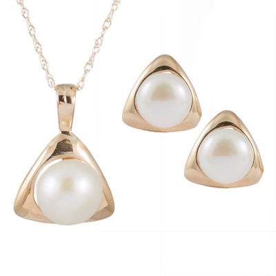 Splendid Pearls Cultured Freshwater Pearl 14K Gold 2-pc. Jewelry Set