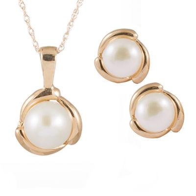 Splendid Pearls Cultured Freshwater Pearl 14K Gold 2-pc. Jewelry Set