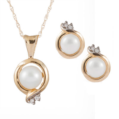 Splendid Pearls Womens 2-pack Diamond Accent Pearl 14K Gold Jewelry Set