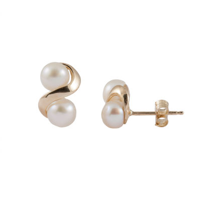 Splendid Pearls Cultured Freshwater Pearl 14K Gold 15mm Stud Earrings
