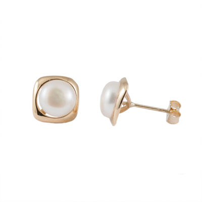 Splendid Pearls Cultured Freshwater Pearl 14K Gold 8mm Stud Earrings