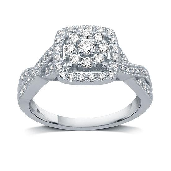 Diamond Blossom Womens 1/2 CT. T.W. Genuine White Diamond 10K White Gold Cluster Halo Cocktail Ring