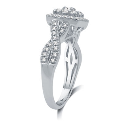 Diamond Blossom Womens 1/2 CT. T.W. Genuine White Diamond 10K White Gold Cluster Ring