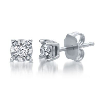 1/6 CT. T.W. Genuine White Diamond 10K White Gold 4mm Stud Earrings