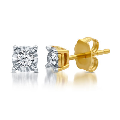 1/6 CT. T.W. Genuine White Diamond 14K Gold Over Silver 4mm Stud Earrings