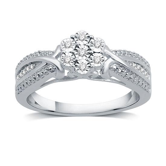 Diamond Blossom Womens 1/10 CT. T.W. Genuine White Diamond Sterling Silver Cocktail Ring