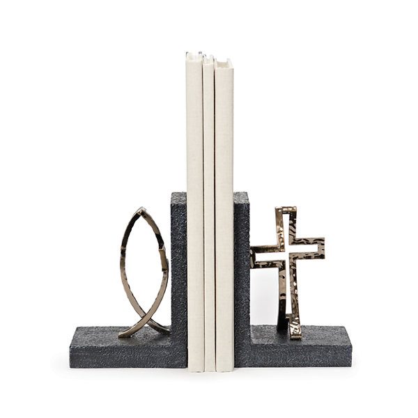 "6.25"" Cross And Fish Bookends"