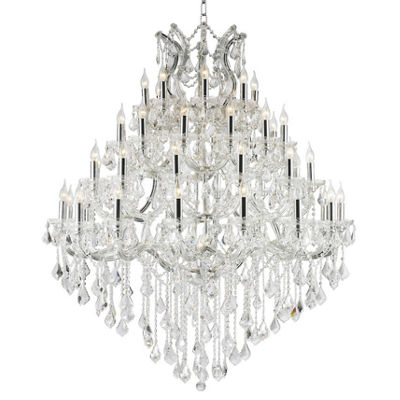 Maria Theresa Collection 49 Light 4-Tier Chrome Finish and Clear Crystal Chandelier