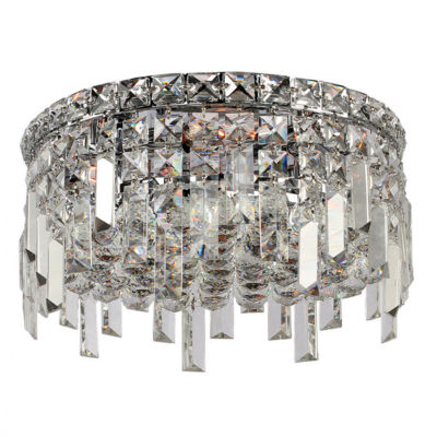 """Cascade Collection 4 Light 7.5"""" Round Chrome Finish and Clear Crystal Flush Mount Ceiling Light"""