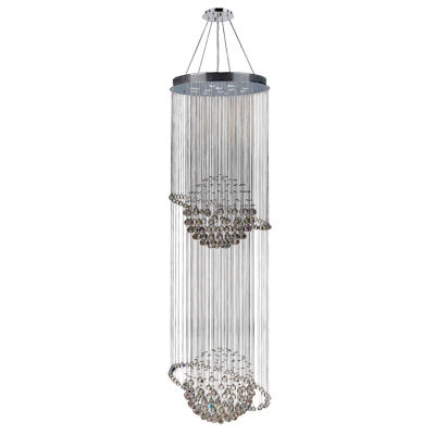Saturn Collection 12 Light 2-Tier Chrome Finish and Clear Crystal Galaxy Chandelier
