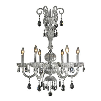 "Carnivale Collection 6 Light Chrome Finish and Clear Crystal Chandelier 25"" D x 32"" H Large"