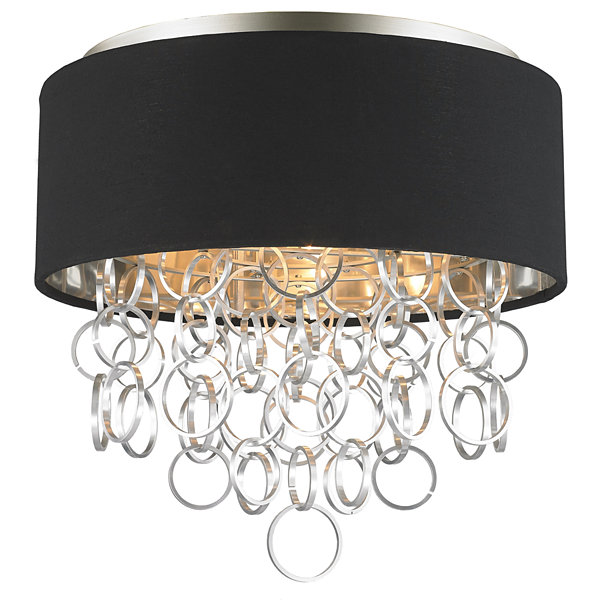 Catena Collection 4 Light Matte Finish with BlackLinen Drum Shade Flush Mount Ceiling Light