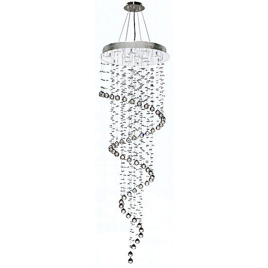 Helix Collection 10 Light Chrome Finish and Clear Crystal Spiral Chandelier
