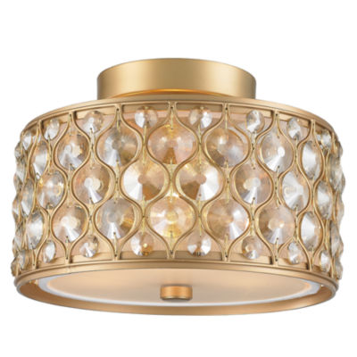 Paris Collection 3 Light with Clear and Golden Teak Crystal Flush Mount Ceiling Light