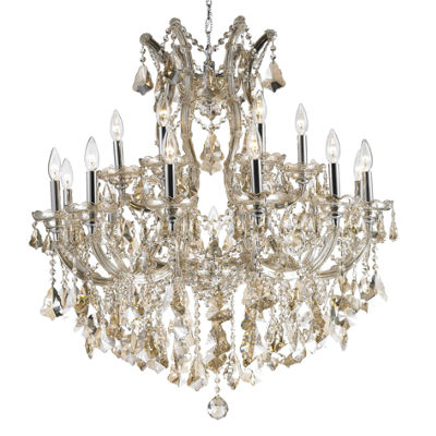 Maria Theresa Collection 19 Light 2-Tier Chrome Finish and Golden Teak Crystal Chandelier